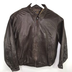 VTG Brown Leather Tommy Hilfiger Jacket Large
